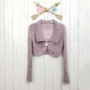 Free People Purple Shell Button Cropped Cardi